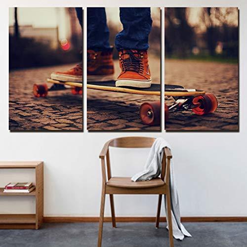 zzlfn3lv Leinwand Gemälde Cuadros Home Decor Leinwand Abstrakte 3 Platte Skateboard Wandkunst Bild Malerei Wohnzimmer Druck - Kein Rahmen