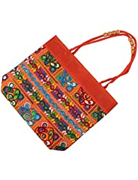 Aatm Jaipuri Women's Sling Handbag In Orange Color With Multi Color Embroidery Designed