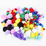 Fluffy Pompoms Balls 4cm 3cm 2.5 cm 2cm 1.5cm Pack of Approx.300 Assorted Color