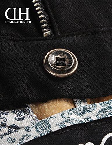 Demon&Hunter Hommes Régulier Noir Fleece Lined Chino Pantalons S90L1x2 Noir