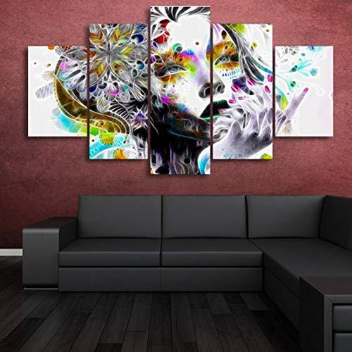 mmwin HD Drucke Modulare Bilder Für Schlafzimmer Leinwand s 5 Stücke Psychedelische Mädchen Mit Blume Wohnzimmer Home Wall Art Decor