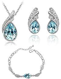 e93ecff1c5a1 Lágrimas Crystals from Swarovski Azul Aguamarina simulada Juego de joyas Collar  Pendientes Pulsera 18k Chapado en
