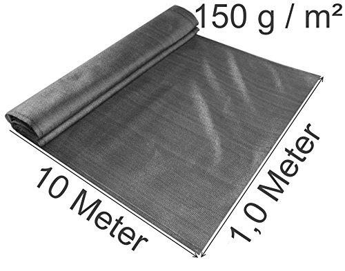 EXCOLO Schattiernetz gefaltet 1,0 Meter hoch, 10 m lang 150 g/m², Farbe grau anthrazit als Windschutnetz Bauzaunsichtschuz Blickschutz für Tennis Baustelle (10 Meter lang / 1,0 Meter hoch) - Schattierungen Von Grau