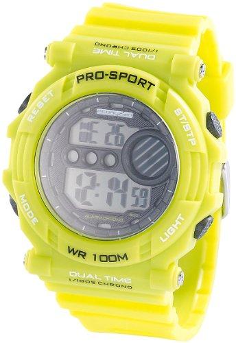 PEARL sports Sportuhr: Digitale Armbanduhr mit Stoppuhr, grün (Digitaluhr Armbanduhr)