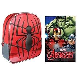 510PnhVXY9L. SS324  - Araña Spiderman Marvel Mochila Infantil Preescolar 31x25x10 cm + Manta Polar Avengers Mochila 3D de Spiderman + Polar Fleece