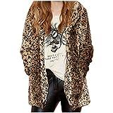 Partiss Damen Sexy Winter Faux Pelzmantel Mode Leopard Gedruckt Mittellange Revers Jacke mit Taschen,XL,Leopard