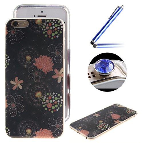 Etsue Case Pour Apple iPhone 6/6S,Ultra-minces TPU Silicone Coque Pattern étui Pour Apple iPhone 6/6S, Rim jante est Transparent Housse Mode Motif Cover pour Apple iPhone 6/6S + 1 x Bleu stylet + 1 x  brille Fleur