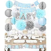 """Baby Shower Decoraciones para el niño""""Es un niño"""" Baby Shower con""""OH BEBÉ"""" Papel de carta Globo Bebé Azul Bunting y papel de seda"""