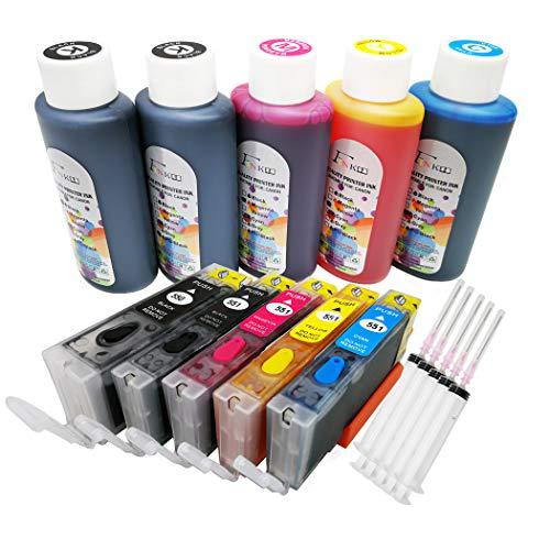 FINK - Cartucho de Tinta Recargable para Impresora PIXMA iP7250 MG5450 MG5550 iX6850 MX725 MX925 MG6450 MG5650 MG6650 iP8750 MG6350 MG7150 (5 x 100 ml)