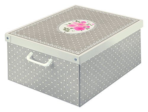 Kanguru Scatola Collection in Cartone, portabiancheria, Abiti, Armadio, Fantasia Pois, Misura Grande, Tortora/Bianco/Rosa, 50x39x24 cm