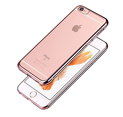 Minto iPhone 6 Plus/ 6s Plus Hülle, 0.8mm Ultradünne mit Überzug Farbig Rahmen Silber TPU Schutzhülle Weiche Silikon Transparent Case Cover für iPhone 6 Plus / 6S Plus Rosegold -i6 plus