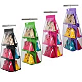 House of Quirk Hanging Handbag Organizer Dust-Proof Storage Holder Bag Wardrobe Closet for Purse Clutch with 6 Pockets (Assorted)