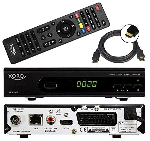Xoro HRM 7620 Full HD Kombi Receiver DVB-T/T2/C Kabel und DVB-T2 (HEVC, HDTV, HDMI, SCART, Mediaplayer, USB 2.0, LAN, PVR Ready = USB TV Aufnahme) + 1,5m HDMI Kabel