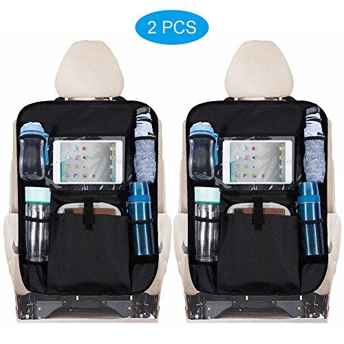 """Rovtop 2 Pcs Organizadores para Asientos de coches Organizador de coche con sostenedor de tablet-bolsillo de la pantalla táctil para tablet Android y iOS hasta 10,1 """"-uso multiusos como protector trasero del asiento de coche, estera del retroceso"""