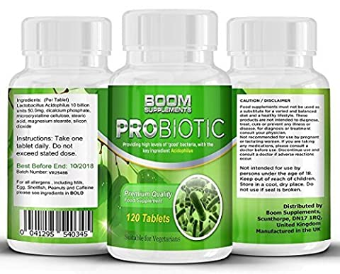Probiotiques | 120 Comprimés Probiotiques Contenant 10 Milliards CFUS | Supplément Probiotique Enzymatique N°1 | Probiotiques Puissants pour Homme et Femme | 120 Pilules Probiotiques | 4 Mois de Réserves | Bactéries Bénéfiques - Favorise la Création d'un Système Digestive en Bonne Santé | Sûrs et Efficaces | Meilleures Ventes de