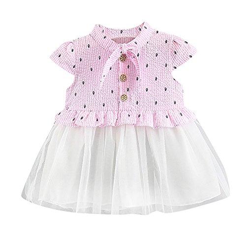 (UFODB Mädchen Neugeborenes Toddler Mode Casual Fischknochen Drucken Tank Kleid Kurzarm Hemden Blusenkleid Underskirt Knielang Kinder Ballkleid)