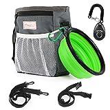 Magicfly bolsa de viaje para perro con bolo plegable para mascotas y clicker para perro, cinturón ajustable con bolsa de perro con dispensador de bolsas integrado de 3 maneras de llevar, color gris