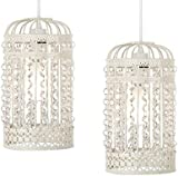 Pair of - Ornate Metal Framed Birdcage Ceiling Shades in a Shabby Chic Finish