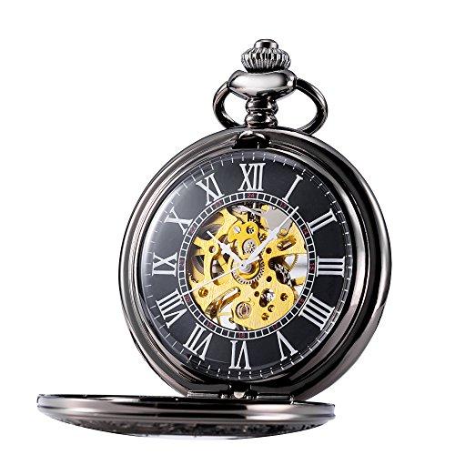 TREEWETO Retro Handaufzug Mechanische Taschenuhr Herren mit Kette Skelett Uhr Römische Ziffern Taschenuhren mit Geschenkbox Farbe: Grauschwarz