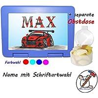Kinder Brotdose mit Auto Motiv und Name / Lunchbox für Kinder mit Name / Rennauto / Farbwahl Brotbox + Schriftwahl für Name