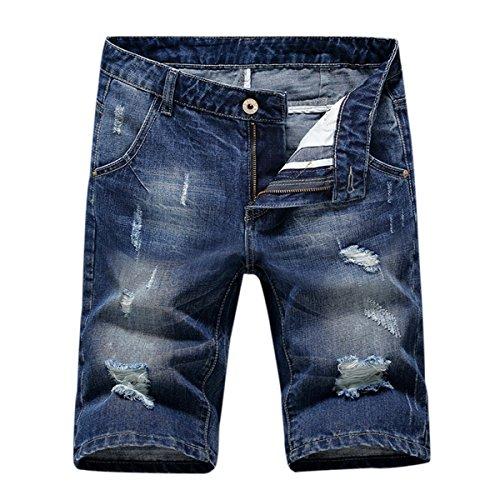 Herren Denim Jeans Shorts Sommer kurze Hose Blau 3