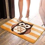jimaofei Eulenmatte Türmatte Bett Seitenmatte Badezimmer Saugmatte Küche Wohnmatten, Mode Eule Kaffee_50 * 80