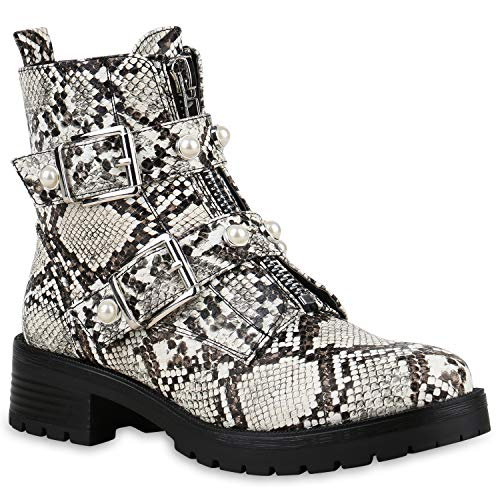SCARPE VITA Damen Stiefeletten Biker Boots Schnallen Leder-Optik Schuhe Bikerstiefel Booties Zierperlen Zipper 174823 Creme Snake 38