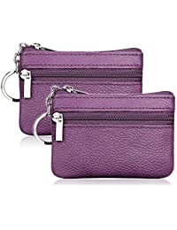 66d6a576e305 Hibate Women's Mini Coin Purse Wallet Genuine Leather Zipper Pouch with Key  Ring
