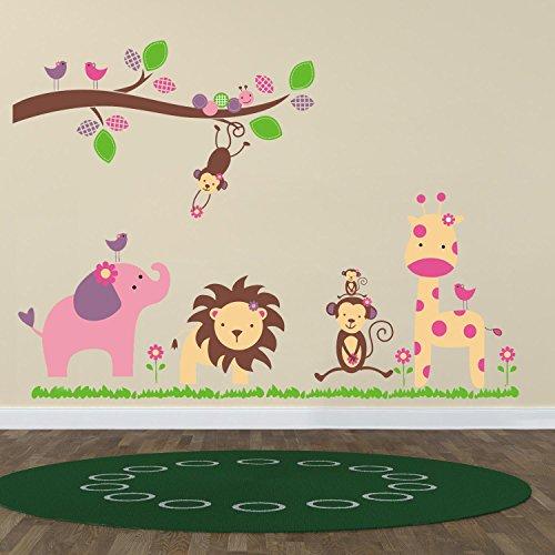 Huge Elephant WS9039 Walplus – Adesivi da parete, motivo elefante/scimmia/alberi - 2