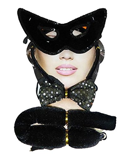 men Maus Katze Devil Ohren Fliege Schwanz Set Frauen Buch Woche Parteien Zubeh�r Black Cat One Size (Katze Ohren Und Schwanz Kostüm Uk)