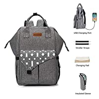 Baby Changing Bag - UOUNE Baby Nappy Diaper Backpack with Wide Open - USB Charging Port & Stroller Straps & Changing Mat - Lightweight and Waterproof Rucksack for Mon and Dat (Grey)