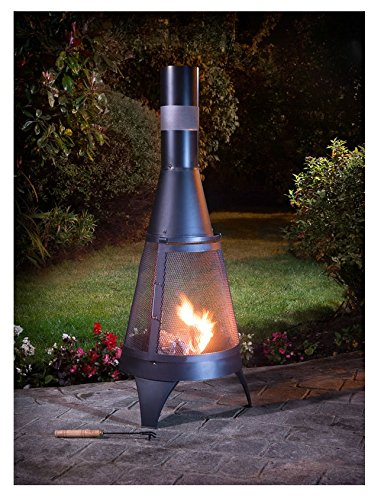 Garden Deluxe Log Burner Firepit & Chimenea Outdoor Heating Black 120cm x 45cm