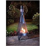 Jardín Deluxe Log Grabadora Fuego 60303Calefacción exterior negro 120cm