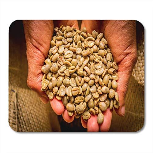 Mauspad Brown Coffee Hand hält Kaffeebohnen aus Kolumbien Schuss Mousepad für Notebooks, Desktop-Computer Mauspads, Bürobedarf 10 x 12 Zoll