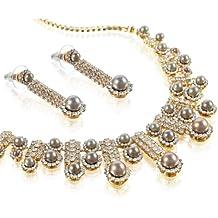 Gioielli da Sposa Matrimonio Set interamente rivestito con cristalli Swarovski e perle. Simmetrico Tapered collana lunga stile con Dangling Orecchini in coordinato. Il perfetto set di gioielli.