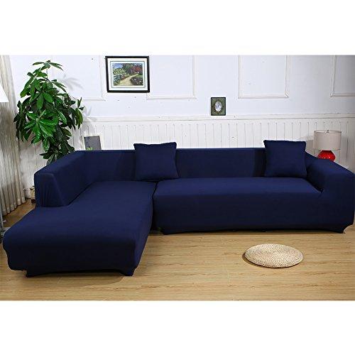 ele ELEOPTION Sofa Überwürfe elastische Stretch Sofa Bezug 2er Set 3 Sitzer für L Form Sofa inkl. 2 Stücke Kissenbezug (Dunkelblau)