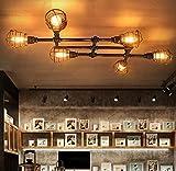 BAYCHEER Antik Kreuz Deckleuchte Industrielampe Pendellampe Rost mit 6 Fassung 44.4'' Breite für Zimmerdecke Bar Cafe Schankwirtschaft Gang Esszimmer