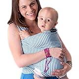CuddleBug Fular Portabebés - Garantía de Por Vida - Rayas Azules Pañuelo Portabebe - Envío Gratuito - Todo Natural Portador de Bebé Ergonomica - Talla Única Baby Wrap - Fular Portabebés - Rayas Azules Baby Wrap Carrier - Garantía de 30 Días
