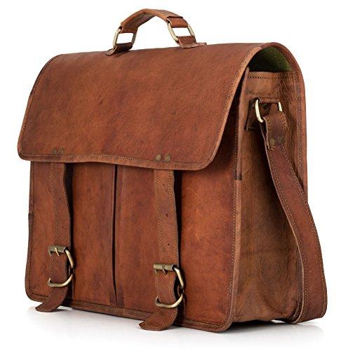 Preisvergleich Produktbild Businesstasche Aktentasche BERLINER BAGS Amsterdam Arbeitstasche Bürotasche Umhängetasche Qualität 17,5 Laptoptasche Ledertasche Vintage Uni Collegetasche Ordner Braun Herren Damen Groß XL