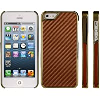 DONZO Carbon-Style Tasche Etui Back Cover für Apple iPhone 5 / 5S - gold braun
