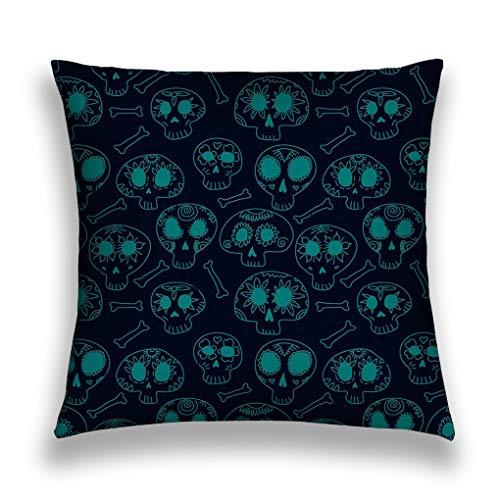 Kissenbezüge Throw Pillow Cover Pillowcase doodle calavera sugar skulls blue halloween dia de muertos seamless pattern background Creative Inked Sofa Home Decorative Cushion Case 18