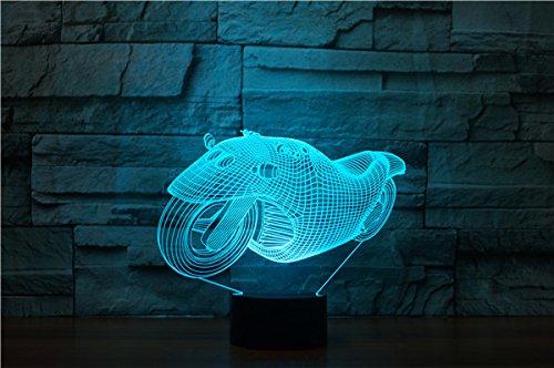 3D Traum - motorrad LED Lampe 7 Farben erstaunliche optische Täuschung Art Skulptur Ferneinstellung Lichter produziert einzigartige Lichteffekte und 3D-Visualisierung für Home Decor-kreative Geschenk
