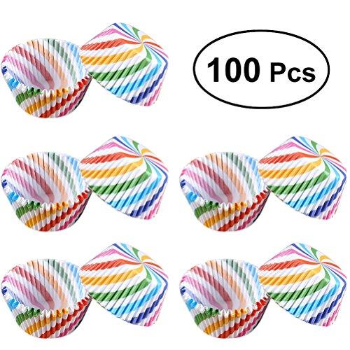 BESTOMZ 100 Stück egemischte bunte Papierkuchen Liner Tasse Cupcake Muffin backen (Bunte Slanted Streifen)