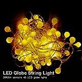 AI-Light Globe LED Lichterkette, 6M 40er Kugel LED Lichterkette mit USB-Stromversorgung, Warmweiß, Wasserdicht,Innen- und Außen Deko Glühbirne, Weihnachtsbeleuchtung für Party, Garten, Weihnachten, Halloween, Hochzeit.