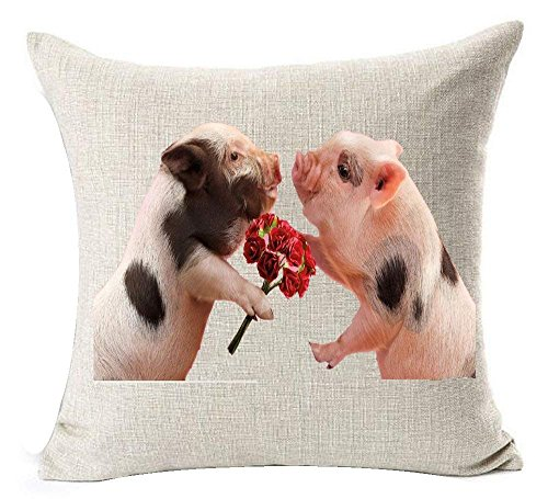 DEFFWBb Cotton Linen Square Decorative Throw Pillow Case Cushion Cover Cute Pink Pet Mini Pig Wear Glasses 18