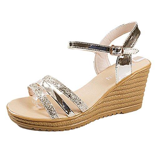 Keil Sandalen Frauen Weit Fit Open-Toe Knöchelriemen Römischen Stil Fisch Mund Student Modelle Pailletten Schnalle,Gold-36 (Keil Schönheit)