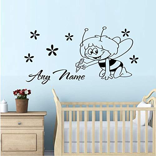 (zlhcich Biene Fee Und Blume Home Decor Art Aufkleber Custom Kids Name Schlafzimmer Wandaufkleber Nette Kinder Wandkunst Aufkleber60 * 30Cm)