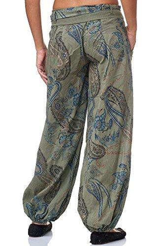 JillyMode wunderschöne Leichte Haremshose aus Baumwolle in viele Muster Gr.34-Gr.40 OneSize H133-Khakigrün