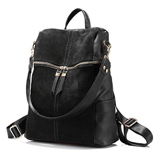 Rucksack Damen Schultertasche Handtasche Mädchen Schultasche Beiläufig Nubuk + Kunstleder Collagen-Stil Schwarz