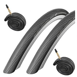 Schwalbe Lugano 700c x 23 Road Racing Bike Tyres (Pair) & Presta Inner Tubes - Black